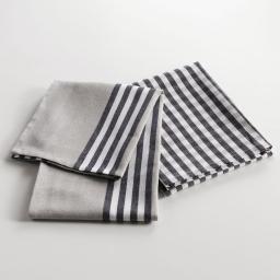 2 torchons 50 x 70 cm coton tisse saveur delice Noir