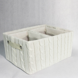 3 panieres rectangles 2 tailles assorties tricot lainy Naturel