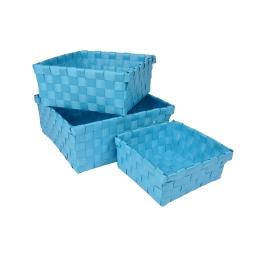 3 paniers tresses 21.5 x 21.5 x 9 cm plastique vitamine Bleu ocean