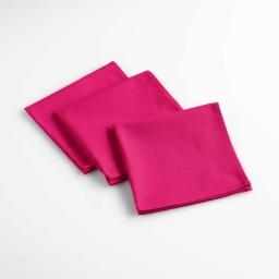 3 serviettes de table 40 x 40 cm coton uni aubeline Fuchsia