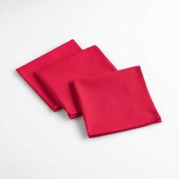 3 serviettes de table 40 x 40 cm coton uni aubeline Rouge