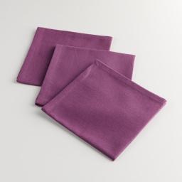 3 serviettes de table 40 x 40 cm coton uni brasserie Violine