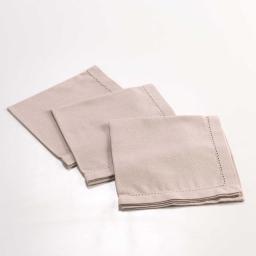 3 serviettes de table 40 x 40 cm coton uni chareline  Lin