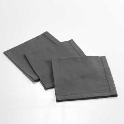 3 serviettes de table 40 x 40 cm coton uni charline Anthracite