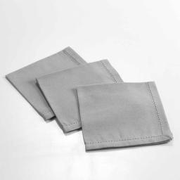 3 serviettes de table 40 x 40 cm coton uni charline Gris