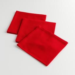 3 serviettes de table 40 x 40 cm coton uni chatouille Rouge
