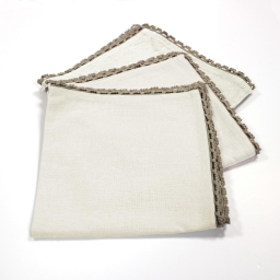 3 serviettes de table 40 x 40 cm coton uni+dentelle femina Naturel