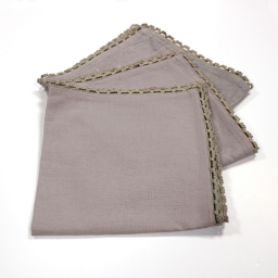 3 serviettes de table 40 x 40 cm coton uni+dentelle femina Taupe