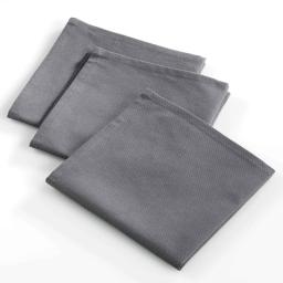 3 serviettes de table 40 x 40 cm coton uni ideale Anthracite