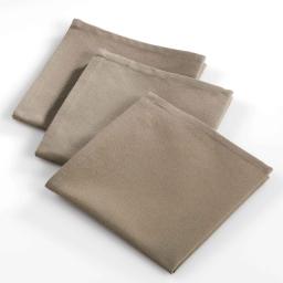 3 serviettes de table 40 x 40 cm coton uni ideale Taupe