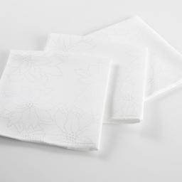 3 serviettes de table 40 x 40 cm jacquard damasse elia Blanc