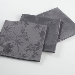 3 serviettes de table 40 x 40 cm jacquard damasse floralie Anthracite
