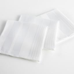 3 serviettes de table 40 x 40 cm jacquard damasse smart Blanc
