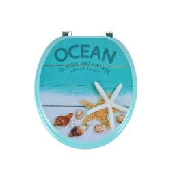 abattant wc mdf charnieres metal seashell