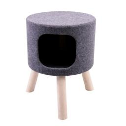 Arbre a chat design feutrine sur pieds en bois chat expert ø36*h48cm Gris