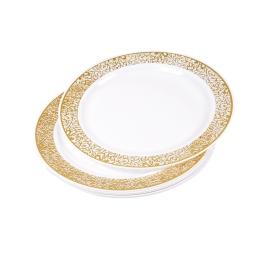 assiette dentelle ø19cm/6 - bordure en or -un diner presque parfait