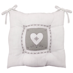 Assise matelassee 36 x 36 cm polyester/lin brode amandine Blanc