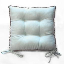 Assise matelassee 38 x 38 cm coton uni+dentelle femina Bleu