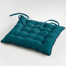 Assise matelassee 38 x 38 cm coton uni ideale Bleu