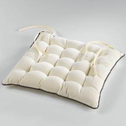 Assise matelassee 38 x 38 cm coton uni ideale Naturel