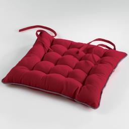 Assise matelassee 38 x 38 cm coton uni ideale Rouge