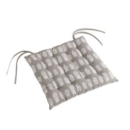 Assise matelassee 40 x 40 cm coton imprime carlota Anthracite