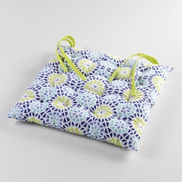 Assise matelassee 40 x 40 cm coton imprime kaleida Marine/Anis