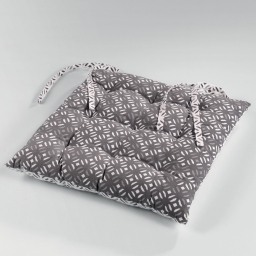 Assise matelassee 40 x 40 cm coton imprime lucie Gris