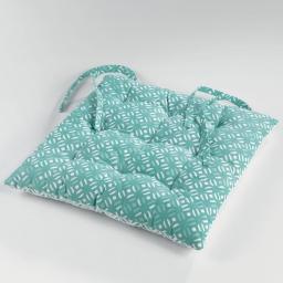 Assise matelassee 40 x 40 cm coton imprime lucie Menthe