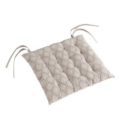 Assise matelassee 40 x 40 cm coton imprime trikala Naturel
