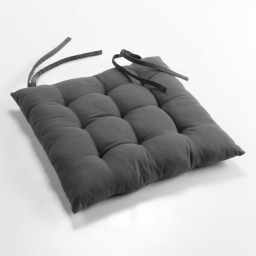 Assise matelassee 40 x 40 cm coton uni charline Anthracite