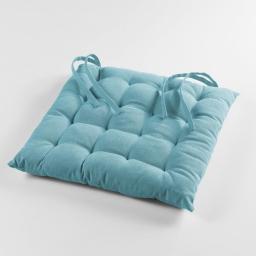Assise matelassee 40 x 40 cm coton uni pacifique Turquoise
