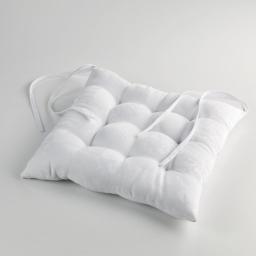 Assise matelassee 40 x 40 cm jacquard damasse calice Blanc