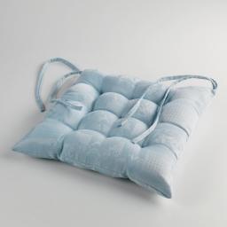 Assise matelassee 40 x 40 cm jacquard damasse calice Bleu