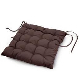 Assise matelassee 40 x 40 cm polyester uni essentiel Chocolat