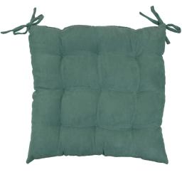 Assise matelassee 40 x 40 cm suede uni suedine Vert