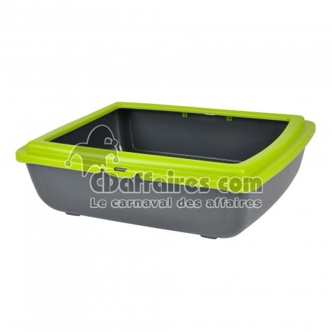 bac a litiere en plastique + rebord vert anis 46*36*h.12cm