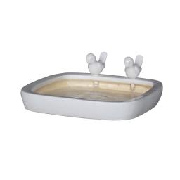bain oiseau ceramique 31*h5cm blanc