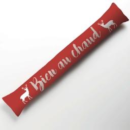 Bas de porte 85 x 15 cm coton imprime brode edelweiss Rouge