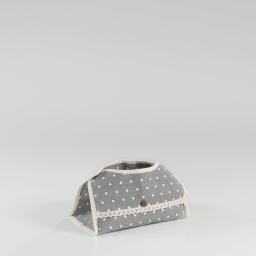 Boite a mouchoirs 26 x 15 cm x ht 6 cm polycoton imprime alicia Gris/Blanc