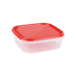 boite carre 1.3l avec couvercle - 19.5*19.5*h6cm - rouge