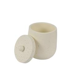Boite coton polyresine ethnic folk coloris ecru Blanc