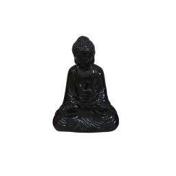 bouddha ceramique 13*9*h19cm noir