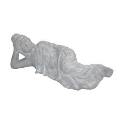 bouddha couché magnesie 80*29*h25cm blanc