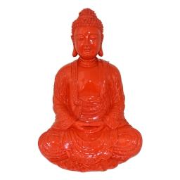 bouddha polyresine 24.5*23.5*h35.5cm rouge