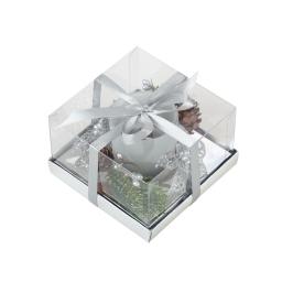 bougeoir decore-avec bougie-couleur argent-h8*l11,5*11,5cm