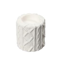bougeoir en dolomite blanc-design effet tricot-ø6.5*h6.5cm