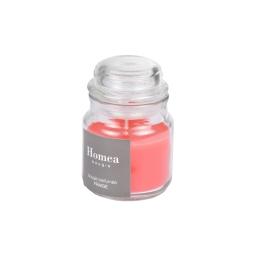 bougie bocal ø6*h.9cm essentiel parfum fraise