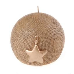 bougie boule marron - design etoile doree - ø8*h7.5cm