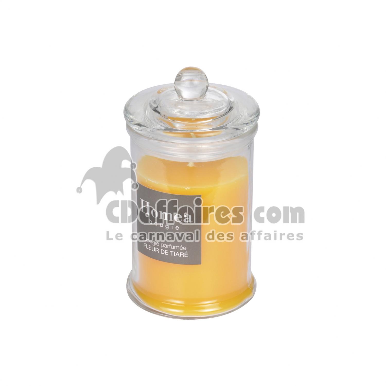 bougie parfumée en bocal ø8*h.15cm - parfum fleur de tiaré - CDAffaires